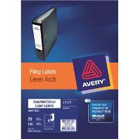 AVERY L7171-25 ASSORTED COLOUR LEVER ARCH FILE SPINE LABEL 4/S