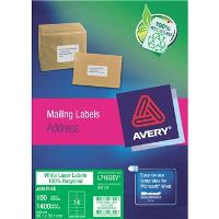 AVERY L7163EV 99.1x38.1mm ENVIRO LABELS 14/S BX100