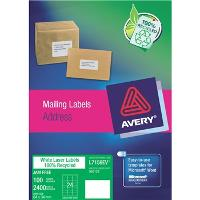 AVERY L7159EV 64x33.8mm ENVIRO LABELS 24/S BX100