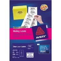 AVERY L7565-25 CLEAR LABELS 99.1X67.7mm  8/S 524510