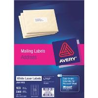 AVERY L7157 64x24.3mm LABELS 33/S BX100 494915 524461
