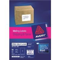 AVERY J8167-50 INKJET LABELS 199x289mm  1/S