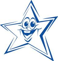 SHINY PRE-INKED STAMP BLUE FUNNY FACE STAR