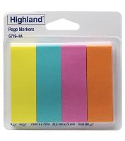 3M 6719-4A HIGHLAND PAGE MARKERS ASSORTED 22x73mm PKT4