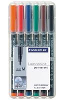 STAEDTLER OHP PENS 317WP6 PERMANENT MEDIUM  WALLET 6 LUMOCOLOR