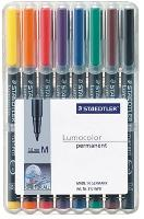 STAEDTLER OHP PENS 317WP8 PERMANENT MEDIUM WALLET 8 LUMOCOLOR