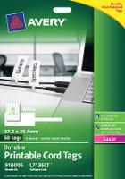 AVERY TAGS LASER L7136 DURABLE CORD TAGS 57.15 X 25.4MM 10/SHEET