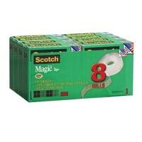 SCOTCH 3M 810 19mmx25m MAGIC TAPE BOXED REFILL PKT8