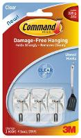 3M COMMAND ADHESIVE UTENSIL HOOKS 17067CLR CLEAR  525112