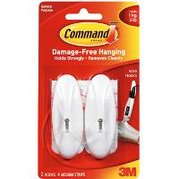 3M COMMAND 17068 MEDIUM WIRE HOOKS WHITE 2 HOOKS 4 STRIPS