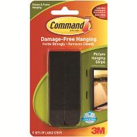 3M COMMAND 17206 BLACK LARGE PICTURE HANGING STRIPS PKT4 516364