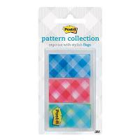 3M POST IT FLAGS 680-PLAID2, 24X43MM GINGHAM PLAID PKT3
