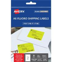 AVERY L7175FY FLURO YELLOW A6 105x148mm LABEL 1/S PKT20 524545