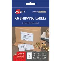 AVERY L7175 SHIPPING WHITE A6 105x148mm LABEL 1/S PKT25 524544