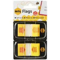 MARBIG FLAGS COLOURED TIP TWIN PACK SIGN HERE YELLOW
