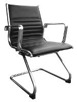 CHAIR COGRA MEDIUM BACK BLACK LEATHER WITH CANTILEVER BASE
