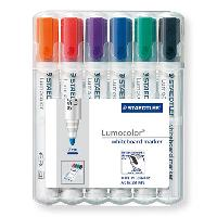 STAEDTLER 351B WHITEBOARD MARKERS WALLET 6 CHISEL COLOURS LUMOCOLOR