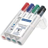 STAEDTLER 351B WHITEBOARD MARKERS WALLET 4 CHISEL COLOURS LUMOCOLOR
