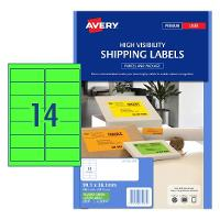 AVERY L7163FG FLUORO GREEN LABELS 14 PER SHEET 99.1 X 38.1 524517