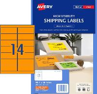 AVERY L7163FO FLUORO ORANGE LABELS 14 PER SHEET 99.1 X 38.1 524522