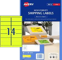 AVERY L7163FY  FLUORO YELLOW LABELS 14 PER SHEET 99.1 X 38.1 524518
