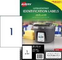 AVERY LABELS L7917 ULTRA RESISTANT 1 PER PAGE 208 X 295mm 649945