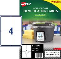 AVERY LABELS L7915 ULTRA RESISTANT 4 PER PAGE 99.1 X 139mm 649941