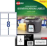 AVERY LABELS L7914 ULTRA RESISTANT 8 PER PAGE 99.1 X 67.7mm 649939