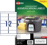 AVERY LABELS L7913 ULTRA RESISTANT 12 PER PAGE 99.1 X 42.3mm 649937