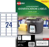 AVERY LABELS L7912 ULTRA RESISTANT 24 PER PAGE 63.5 X 33.9mm 649935