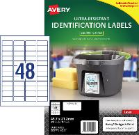 AVERY LABELS L7911 ULTRA RESISTANT 48 PER PAGE 45.7 X 21.2mm 649933
