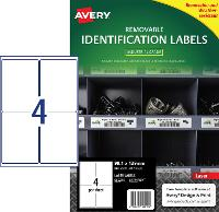 AVERY REMOVABLE LABELS L4774REV HEAVY DUTY 4 PER PAGE 99.1 X 139mm 649921