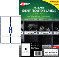 AVERY REMOVABLE LABELS L4715REV HEAVY DUTY 8 PER PAGE 99.1 X 67.7mm 649919