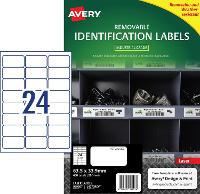 AVERY REMOVABLE LABELS L4773REV HEAVY DUTY 24 PER PAGE 63.5 X 33.9mm 649915
