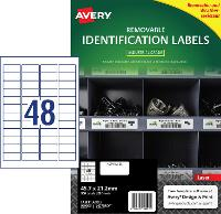 AVERY REMOVABLE LABELS L4778REV HEAVY DUTY 48 PER PAGE 45.7 X 21.2mm 649911