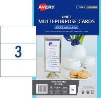 AVERY MULTIPURPOSE CARDS C32296 DL 210.0X99.0MM 3/SHEET WHITE PKT10