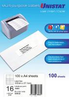 UNISTAT MULTI USE LABELS 105x37mm 16 LABELS PER SHEET BX100 DL16 524500