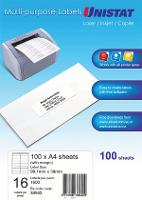 UNISTAT MULTI USE LABELS 99.1x34mm WITH MARGIN 16/SHEET BX100 524501