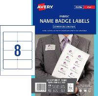AVERY LABELS LASER FABRIC NAME BADGE L7418K 86.5 X 55.5MM 8/SHEET 524676