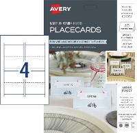 AVERY PLACECARDS PRINTABLE FOLDED 85X50MM C32073 10 SHT 4UP WHITE