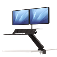 FELLOWES SIT STAND WORK STATION LOTUS RT DUAL MONITOR BLACK