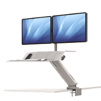 FELLOWES SIT STAND WORK STATION LOTUS RT DUAL MONITOR WHITE