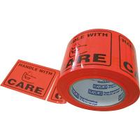 HANDLE WITH CARE PERFORATED LABEL TAPE  75x100m