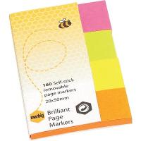 MARBIG BRILLIANT PAGE MARKER COLOUR 20x50mm 160SHT ASSORTED PACK OF 160