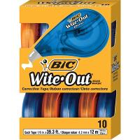 BIC CORRECTION TAPE  WITE OUT EZ GRIP WHITE BOX10