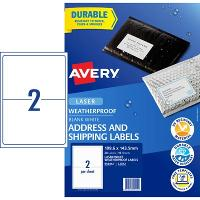 AVERY WEATHER PROOF LABELS LASER 199.6x143.5mm WHITE L7072 2/SHEET