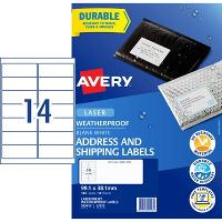 AVERY WEATHER PROOF LABELS LASER 99.1x38.1mm WHITE L7073 14/SHEET
