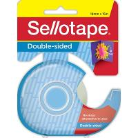 SELLOTAPE DOUBLE SIDED TAPE 18mmx15m WITH NO LINE IN DISPENSER CLEAR