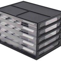 ITALPLAST A4 DOCUMENT CABNET RECYCLED 5 DRAWER BLACK CLEAR