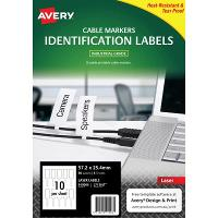 AVERY TAGS LASER L7952 CABLE TAGS 72 X 11 X 10MM 10/SHEET